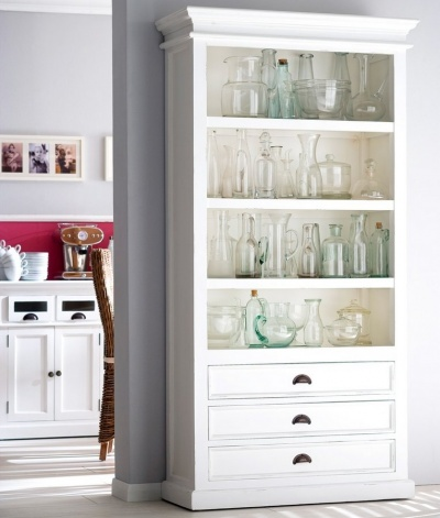 Halifax White Bookcase with 3 Drawers
