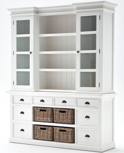 Halifax White Library Hutch Unit  with Rattan Baskets