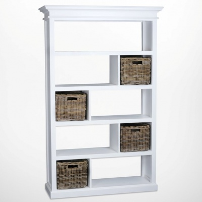 Halifax White Room Divider with Rattan Baskets