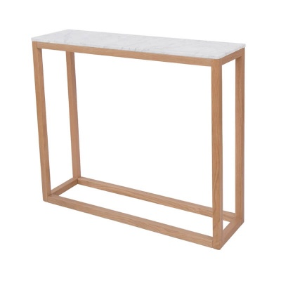 Harlow Console Table Oak with White Marble Top