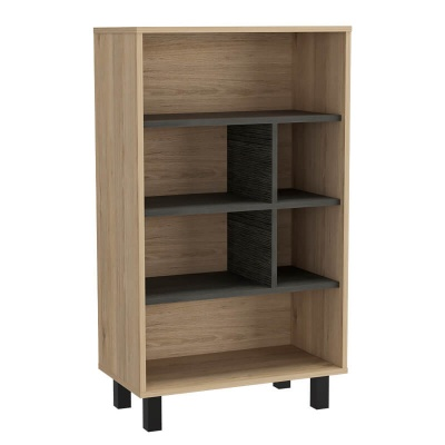Harvard Washed Oak & Grey Display Bookcase