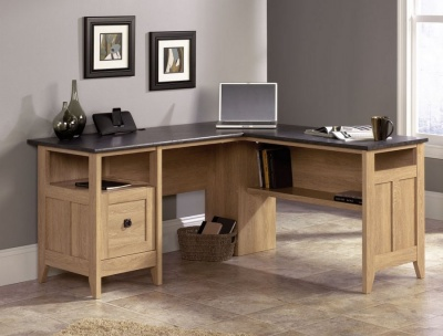 Home Study L-Shaped Desk - Oak Finish
