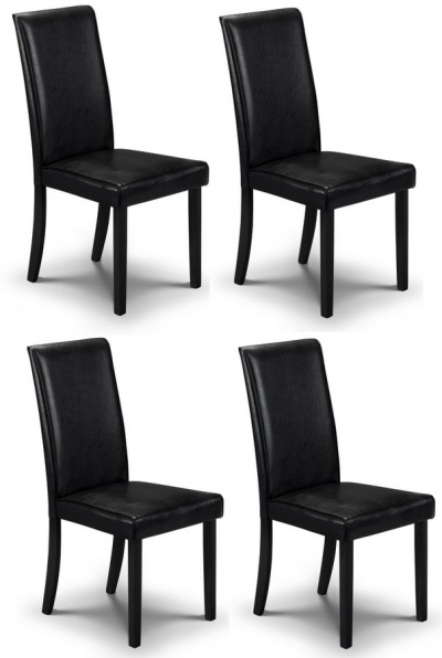 Hudson Black Faux Leather Dining Chairs - Set of Four