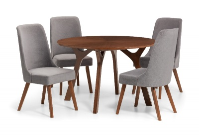 Huxley Round Walnut Dining Table & 4 Grey Chenille Dining Chairs