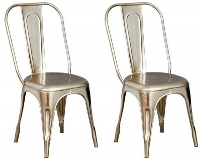 Cosmo Industrial Silver Metal Chairs - Pair