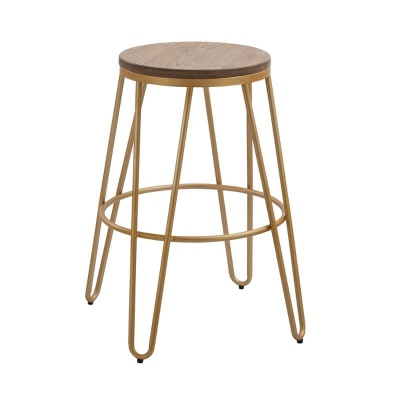 Ikon Bar Stool Wood Seat with Gold Effect Hairpin Legs