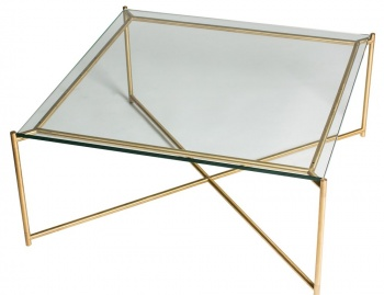 Iris Brass Frame Square Coffee Table