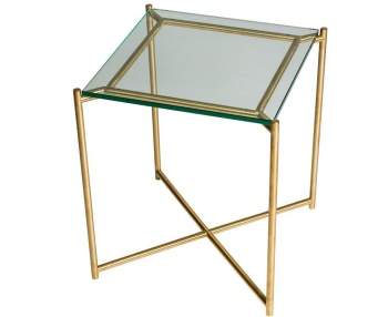 Iris Brass Frame Square Side Table