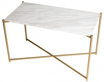 Iris Brass Frame Rectangle Side Table