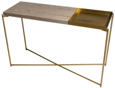 Iris Brass Large Console Table with Small Tray