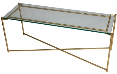 Iris Brass Large Low Console Table