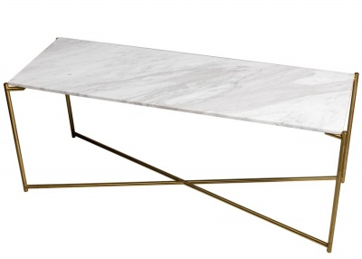 Iris Brass Large Low Console Table with Marble Top