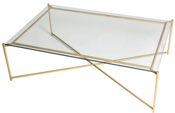 Iris Brass Frame Rectangle Coffee Table