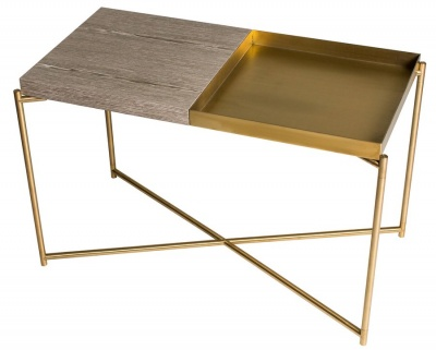 Iris Brass Rectangular Side Table with Combination Top
