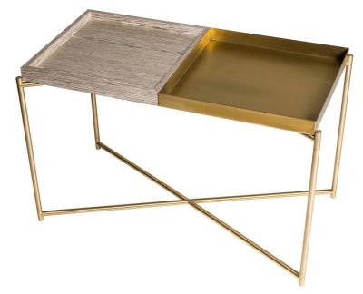 Iris Brass Rectangular Side Table with Weathered Oak & Brass Trays