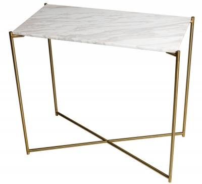 Iris Brass Small Console Table with Marble Top