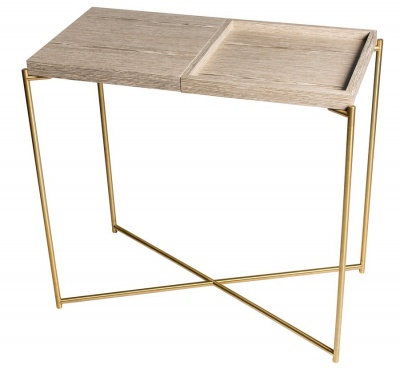 Iris Brass Small Console Table with Weathered Oak Combination Top