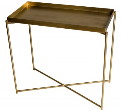 Iris Brass Small Console Table with Tray Top