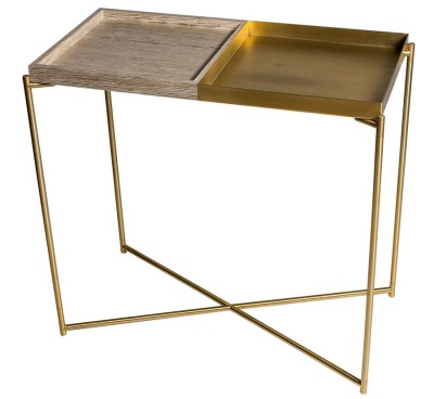 Iris Brass Small Console Table with Weathered Oak & Brass Trays