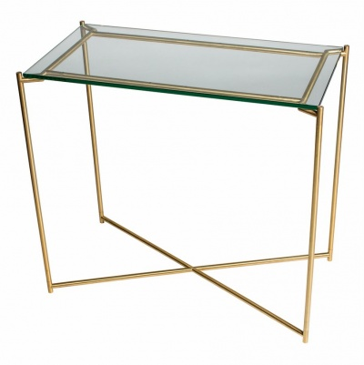 Iris Brass Small Console Table