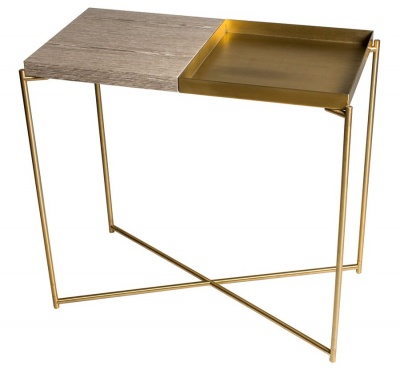 Iris Brass Small Console Table with Weathered Oak Top & Brass Tray