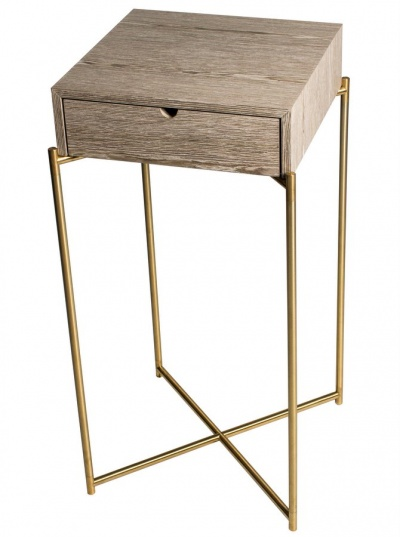 Iris Brass Square Plant Stand with Drawer