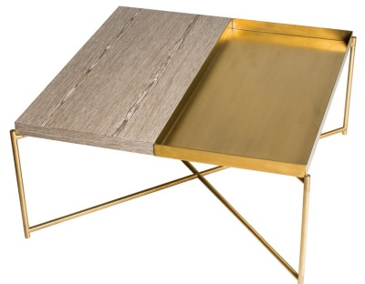 Iris Brass Weathered Oak Square Coffee Table with Brass Tray