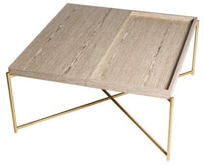 Iris Brass Weathered Oak Square Coffee Table with Tray