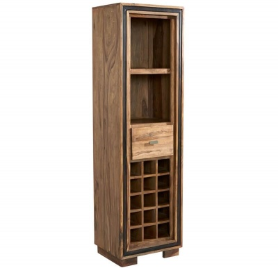 Jodhpur Sheesham Tall Wine Bookcase - Solid Sheesham Wood