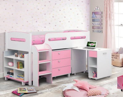 Kimbo Cabin Bed White/Soft Pink with Mattress