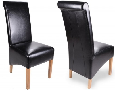 Krista Rollback Bonded Leather Dining Chairs - Pair