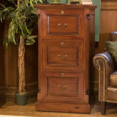 La Roque Mahogany Three Drawer Filing Cabinet