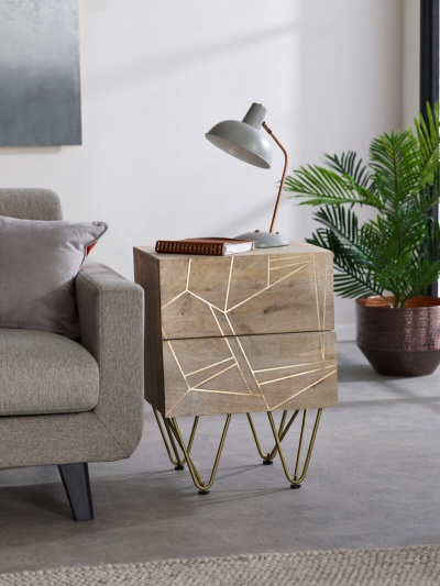 Light Gold 2 Drawer Side Table - Wood & Metal