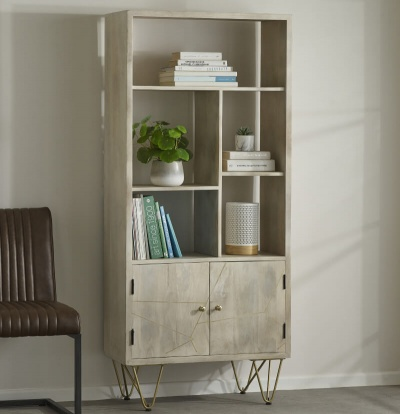 Light Gold Large Bookcase 2 Door - Wood & Metal