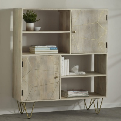 Light Gold Display Cabinet - Wood & Metal