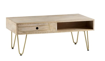Light Gold Rectangular Coffee Table with Drawer - Wood & Metal
