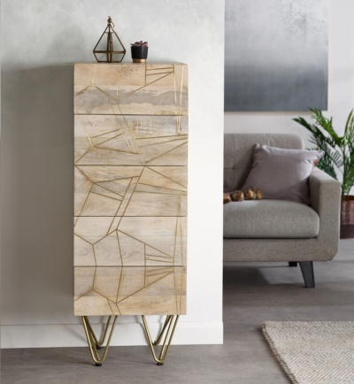 Light Gold Tall Chest of Drawers - Wood & Metal