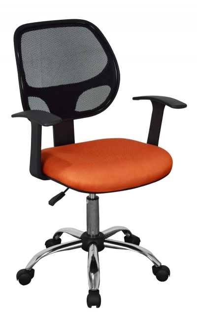 Loft Home Office Chair in Black Mesh Back Orange Seat with Chrome Base