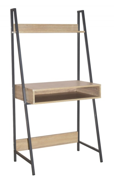 Loft Home Office Ladder Bookcase Desk with Oak Effect and Grey Metal Frames