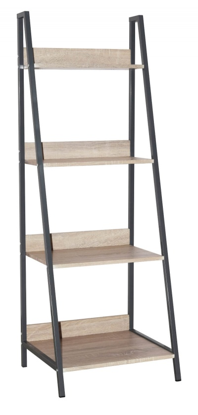 Loft Home Office Ladder Bookcase Unit with Oak Effect and Grey Metal Frames