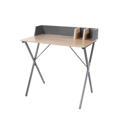 Loft Study Desk Oak Effect with Grey Metal Legs