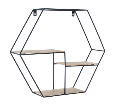 Loft Black Wire & Woodgrain Hexagonal Display Shelf - 48 cm
