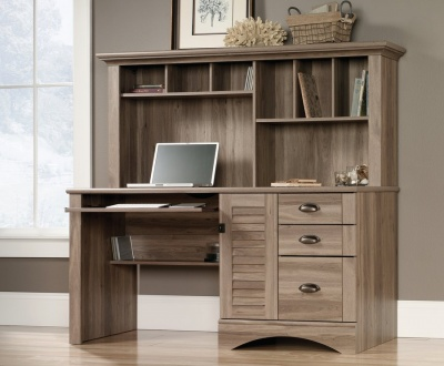 Louvre Hutch Desk - Salt Oak Finish