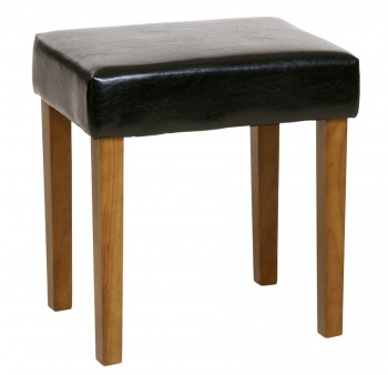 Black Faux Leather Dressing Table Stool with Wooden Legs