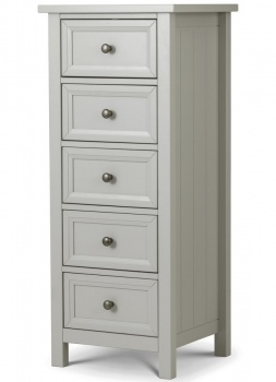 Maine Dove Grey 5 Drawer Tall Chest