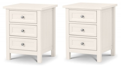 Maine Surf White 3 Drawer Bedside Tables - Pair