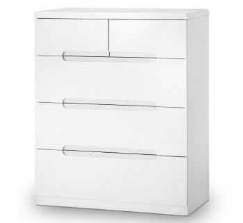 Manhattan High Gloss White 3 + 2 Drawer Chest