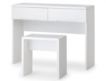 Manhattan High Gloss White Dressing Table & Stool