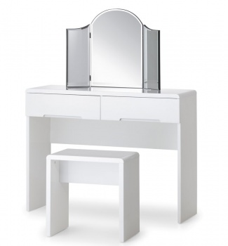 Manhattan High Gloss White Dressing Table Set