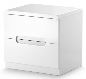 Manhattan High Gloss White Bedside Table